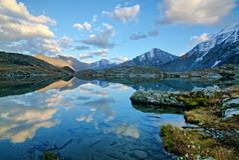 Akkem-Tal im Altai-Gebirgsnaturpark Stockbilder