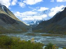 Akkem wall and Belukha mountain view. Altai Mountains, Russia royalty free stock images