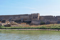Akkerman堡垒古老墙壁在别尔哥罗德州Dnestrovsky 库存图片
