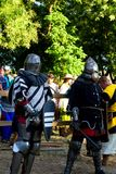 Akkerman fortess. Two knights in Akkerman fortess during the festival of medieval culture stock photos