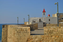 Akko antique Israel Catholic Church Image stock