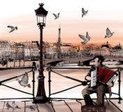 Akkordeonspieler, der auf Pont des Arts in Paris spielt stock abbildung