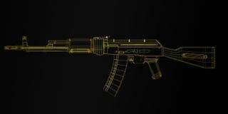 AKM Avtomat Kalashnikova. Assault rifle on white 3d Stock Images