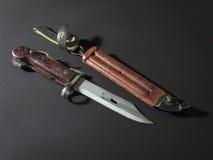 AKM bayonet knife. On dark background Royalty Free Stock Images