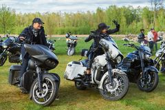 Opening of Lithuanian bikers season, meeting in rural tourism homestead, portraits. Royalty Free Stock Image