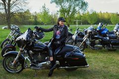 Opening of Lithuanian bikers season, meeting in rural tourism homestead, portraits. stock image