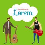 Akoestische, Elektrische Gitaristen op Groene Achtergrond stock illustratie