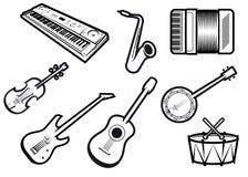 Akoestische en elektrische muzikale instrumenten Royalty-vrije Stock Foto