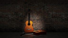 Akoestische gitaar die op grungy muur leunt Royalty-vrije Stock Foto's