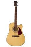 Akoestische gitaar die op wit wordt geïsoleerdr Stock Afbeelding