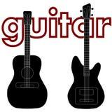 Akoestische gitaar en basgitaar Royalty-vrije Stock Foto