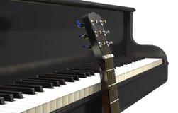 Akoestische gitaar en klassieke grote piano 3d illustratie Royalty-vrije Stock Afbeeldingen