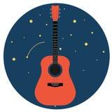 Akoestische gitaar tegen de sterrige die hemel op witte Vectorillustratie wordt geïsoleerd als achtergrond royalty-vrije illustratie