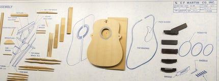 Akoestische gitaarblauwdruk Stock Foto's