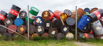 AKRANES, ICELAND - AUGUST 1, 2016: Oil barrels or chemical drums Stock Photography
