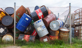 AKRANES, ICELAND - AUGUST 1, 2016: Oil barrels or chemical drums Stock Images