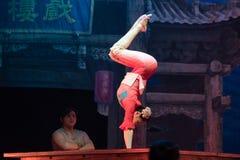 Akrobacje na akrobatycznej showBaixi sen nocy Fotografia Stock