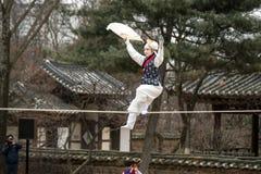 Akrobacje na balansowanie na linie odprowadzeniu przy Koreańską Ludową wioską Obrazy Royalty Free