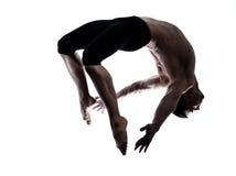 akrobatbalettdansör som dansar den moderna gymnastiska mannen Royaltyfri Bild