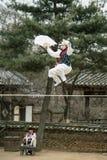 Akrobatik på en spänd lina som går på den koreanska Folk byn Arkivbild
