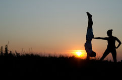 Akrobatische Paare. Stockfoto
