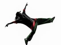 Akrobatischer Breakdancer des Hip-Hop, der Schattenbild des jungen Mannes breakdancing ist Lizenzfreie Stockfotografie