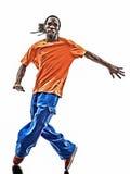 Akrobatischer Breakdancer des Hip-Hop, der Schattenbild des jungen Mannes breakdancing ist Lizenzfreies Stockfoto