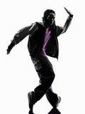 Akrobatischer Breakdancer des Hip-Hop, der Schattenbild des jungen Mannes breakdancing ist Stockbilder