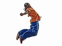 Akrobatischer Breakdancer des Hip-Hop, der springendes Si des jungen Mannes breakdancing ist Lizenzfreie Stockfotos