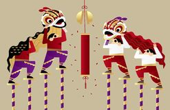 Akrobatycznego Chińskiego lwa dancingowy występ ilustracji