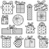 Akromatisk uppsättning för vektor av julgåvor stock illustrationer