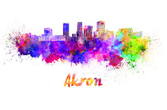 Akron OH skyline in watercolor Stock Photos