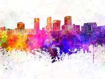 Akron skyline in watercolor background Royalty Free Stock Photography