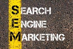 Akronim SEM - wyszukiwarka marketing obraz stock