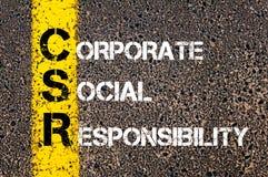 Akronimu CSR - Korporacyjna odpowiedzialność społeczna Zdjęcie Stock