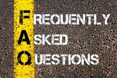 Akronimu FAQ - Dobrowolnie Pytać pytania zdjęcie stock