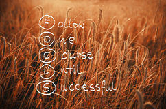 Akronym des Fokus handgeschrieben auf einem Feld des Weizens bereit, har zu sein Stockfotos
