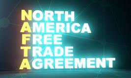 Akronym des Freihandelsvertrags Nordamerikaners Lizenzfreie Stockfotos