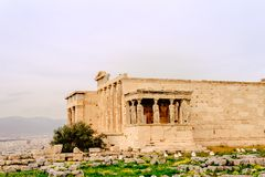 Akropol av Aten, arkitektonisk monument, turist- dragning royaltyfria foton