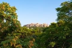Akropol av Aten från den forntida marknadsplatsen i Aten, Grekland Royaltyfri Foto