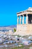 Akropol Erechtheum tempel i Aten, Grekland Fotografering för Bildbyråer