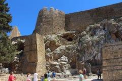 Akropol Lindos, Rhodes Obrazy Stock