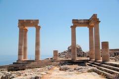 Akropol na wyspie Lindos Obrazy Royalty Free