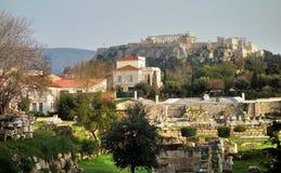 Akropol- och Parthenontempel i Aten Arkivbilder