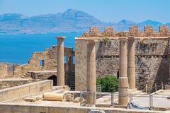Akropol w Lindos Rhodes, Grecja Fotografia Stock