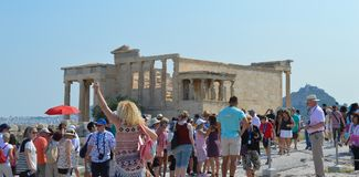 Akropolis in Athene, Griekenland op 16 Juni, 2017 Royalty-vrije Stock Foto