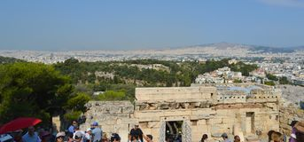 Akropolis in Athene, Griekenland op 16 Juni, 2017 Royalty-vrije Stock Foto's