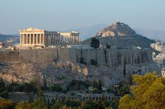 Akropolis, berühmter Grenzstein in Athen, Griechenland stockfotografie