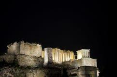 Akropolis bij nacht Stock Foto