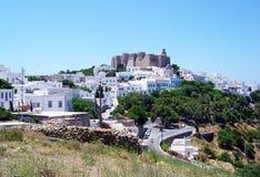 Akropolis de Patmos fotografia de stock